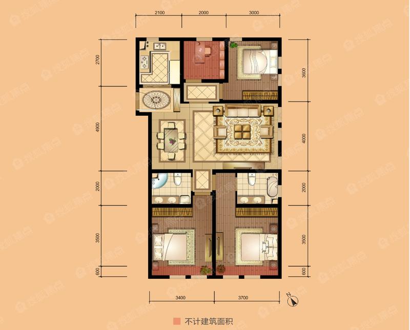 天曦 121/130平米 3+1室2廳-4室2廳2衛-121.0㎡