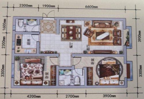 A户型, 2室2厅2卫1厨, 建筑面积约93.67平米