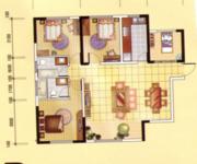 B3戶型, 3室2廳2衛0廚, 建筑面積約126.68平米