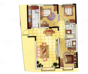 A3戶型, 3室2廳2衛, 建筑面積約106.53平米