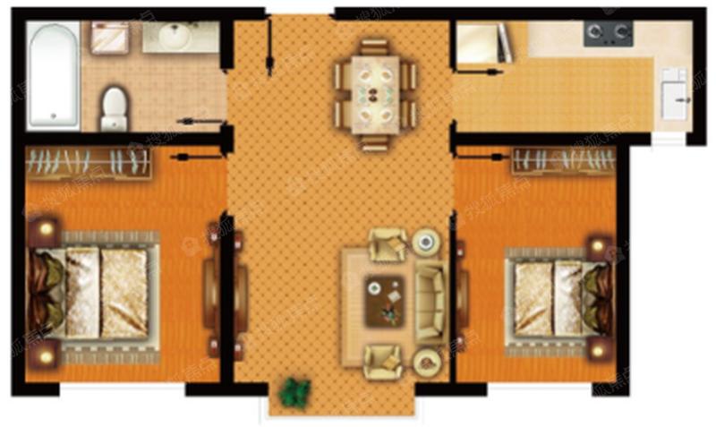 公寓G_D戶型,約66.18㎡-2室1廳1衛-66.2㎡
